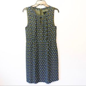 J. Crew Keyhole Olive Dress in Square Dot